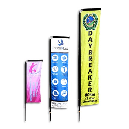 Telescopic banners manufactured by Stitched Flags and Banners, includes systems and carry bag.