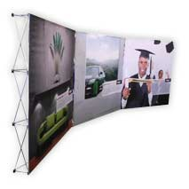 Three 2.25x2.25m banner walls manufactured by Stitched Flags and Banners in full colour including system and carry bag