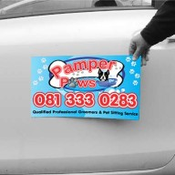 Pamper Paws car magnet designed and printed in full colour by Flag banner as an outdoor display unit. Supplied in sets of 2.