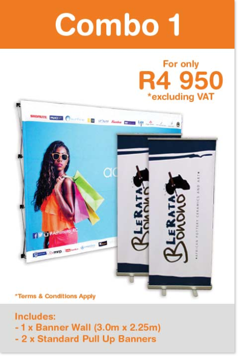 Combo Special on Flags and Banners. 1 x 3.0m x 2.25m Banner Wall & 2 x Standard Pull Up Banners