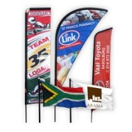 Telescopic banner, sharkfin banner, curved banner, world flags, country flags, south african flags