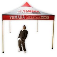 Full colour Yamaha gazebo manufactured by Flag Banner as an outdoor display unit.