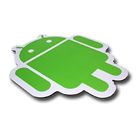 Android shaped mouse pad. Custom shaped mouse pads manufactured by Stitched Flags and Banners.