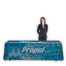 Flags, banners, branding indoor displays, custom size branded table cloths