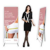 X Frame Banners manufactured by Stitched Flags and Banners, printed in full colour.