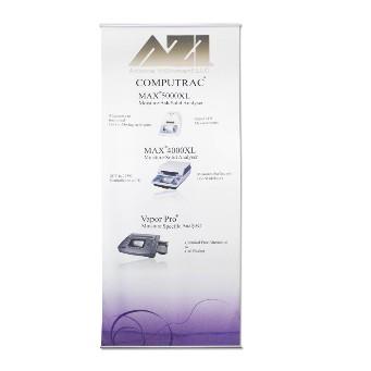Cloth vertical ceiling hanging banner printed in full colour and supplied with system