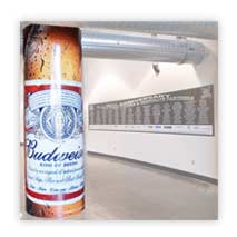 Budweiser pillar wrap manufactured in full colour from a lasting pvc material